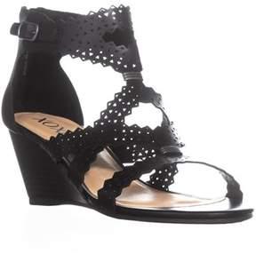 XOXO Satisha Perforated Strap Wedge Sandals, Black.