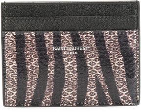Saint Laurent Paris zebra print cardholder - BLACK - STYLE