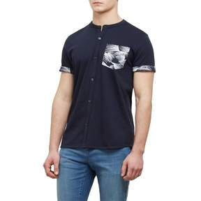 Kenneth Cole New York Reaction Kenneth Cole Short-Sleeve Printed Pocket Collarband Shirt - Men's