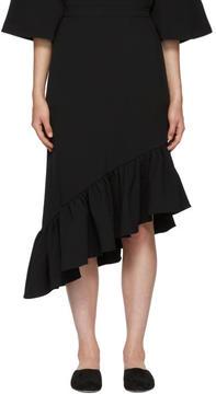 Edit Black Asymmetric Peplum Skirt