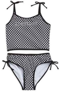 Bebe Girl's Two-Piece Gingham-Print Bathing Suit
