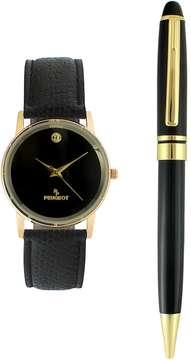 Peugeot Men's Leather Watch & Pen Set