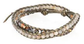 Chan Luu Abalone, Labradorite, Crystal & Leather Beaded Double-Wrap Bracelet