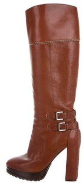 Ralph Lauren Collection Leather Platform Knee-High Boots