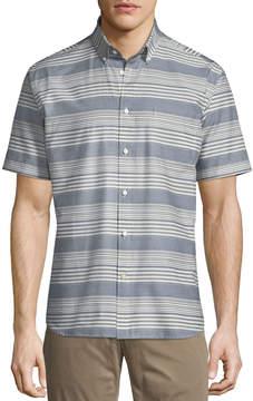 Neiman Marcus Striped Short-Sleeve Sport Shirt