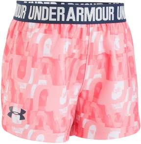 Under Armour Toddler Girl Logo Band Wordmark Pink Play Up Shorts