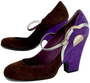 Marc Jacobs Brown & Purple Suede Pumps