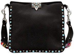 Valentino Rockstud Rolling Small Flip-Lock Hobo Bag