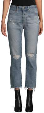 AG Adriano Goldschmied Women's Distressed Straight-Leg Cropped Jeans