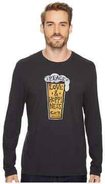 Life is Good Peace Love Hoppiness Long Sleeve Smooth Tee Men's Long Sleeve Pullover