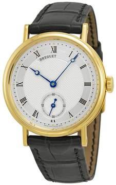 Breguet Classique Silver Dial 18kt Yellow Gold Black Leather Men's Watch 5907BA12984