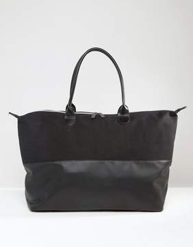 Mi-Pac Canvas & Tumbled Faux Leather Contrast Weekender