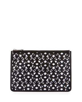 Givenchy Pandora Star-Cut Leather Medium Pouch, Black/White