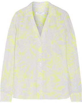 Equipment Adalyn Printed Washed-silk Shirt - Bright yellow