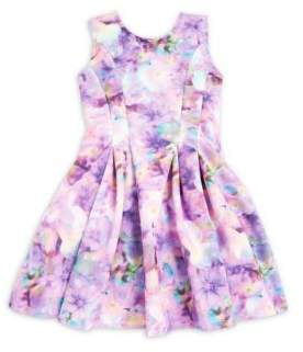 Halabaloo Little Girl's Pleated Floral Print Dress