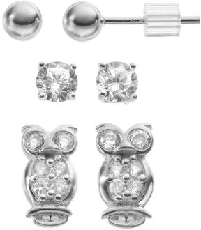 Ball Cubic Zirconia Sterling Silver Owl & Stud Earring Set
