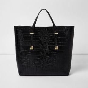 River Island Womens Black croc embossed leather tote bag