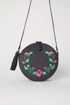 H&M Embroidered Shoulder Bag - Black