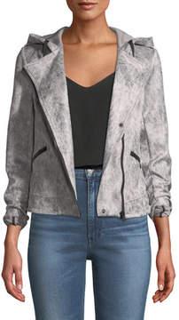 Blanc Noir Hooded Zip-Front Moto Jacket