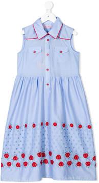 Miss Blumarine embroidered roses shirt dress