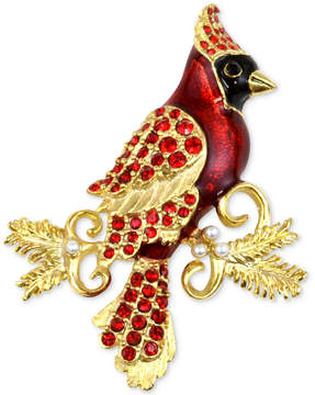 Charter Club Holiday Lane Gold-Tone Red Crystal & Imitation Pearl Cardinal Brooch, Created for Macy's