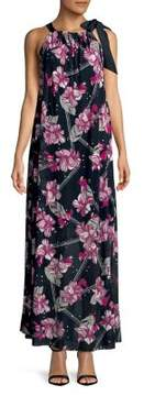 Ellen Tracy Floral Printed Halter Maxi Dress