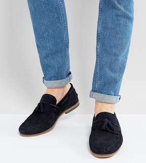 Asos Wide Fit Tassel Loafers In Navy Suede With Fringe And Natural Sole