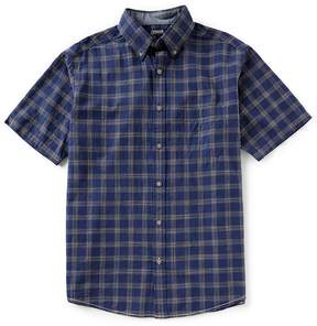 Roundtree & Yorke Casuals Short-Sleeve Plaid Slub Untucked Sportshirt