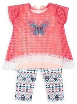 Little Lass Little Girl's Three-Piece Mesh Butterfly Top, Tank, and Capris Set