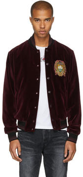 Dolce & Gabbana Burgundy Velvet Embroidered Bomber Jacket