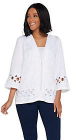 Bob Mackie Bob Mackie's Floral Embroidered Cut-Out LinenJacket
