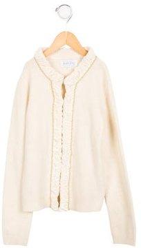 Rachel Riley Girls' Wool Velvet-Trimmed Cardigan