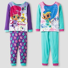 Nickelodeon Toddler Girls' Shimmer and Shine Long Sleeve 4-Piece Cotton Pajama Set Purple