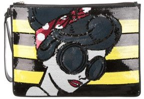 Alice + Olivia Sequin & Leather Clutch