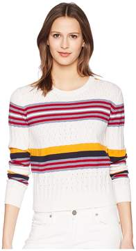 Jil Sander Navy Long Sleeve Knit with Mixed Stitches and Colors Women's Clothing