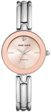 Anne Klein Diamond Accent Silvertone Pink Dial Slim Bracelet Watch