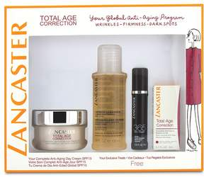 Lancaster Total Age Correction Set: Anti-Aging Day Cream 50ml+ Serum Youth Renewal 10ml+ Retinol-In-Oil 3ml+ Express Cleanser 100ml