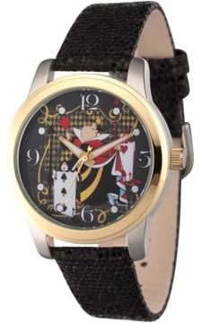 Disney Disney, Alice in Wonderland, Queen of Hearts Women's Two-Tone Alloy Watch, Black Sequin Strap