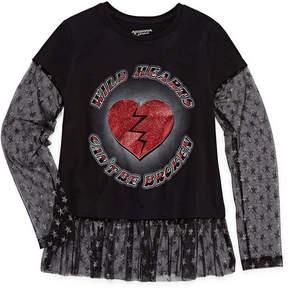 Arizona Long Sleeve Graphic Tee w/ Mesh Trim - Girls' 7-16 & Plus