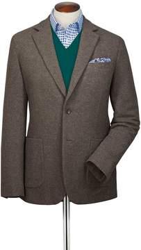 Charles Tyrwhitt Slim Fit Light Brown Plain Wool Flannel Wool Blazer Size 38