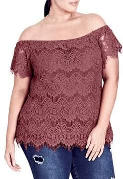 City Chic Plus Lacey Off-The-Shoulder Top