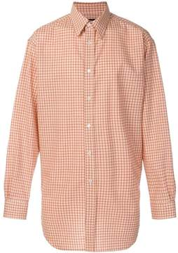 Raf Simons gingham gathered hem shirt