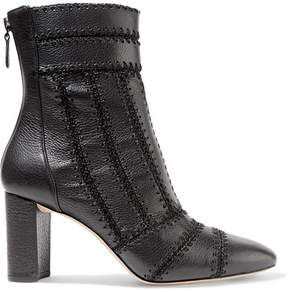 Alexandre Birman Beatrice Whipstitched Textured-leather Ankle Boots - Black
