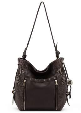 The Sak Ojai Leaf Cutout Tasseled Bucket Bag