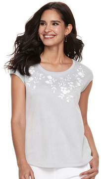 Elle Women's Embroidered Floral Striped Tee
