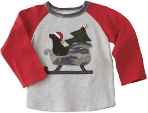 Mud Pie Baby Boys 12-24 Months Camouflage Christmas Sleigh Tee