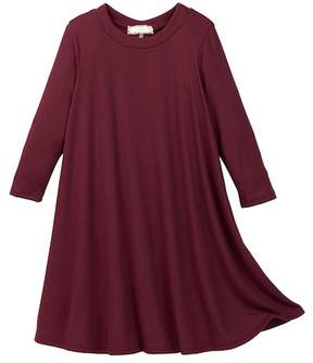 Soprano 3/4 Length Sleeve Rib Knit T-Dress (Big Girls)