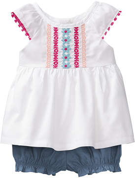Gymboree White Embroidered Top & Blue Bloomers - Newborn & Infant