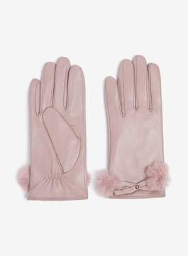 Dorothy Perkins Blush Leather Faux Fur Trim Gloves