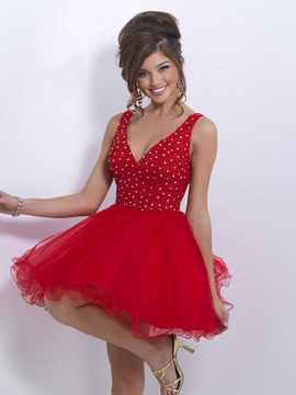Blush Lingerie X150 Bedazzled V-neck A-line Dress